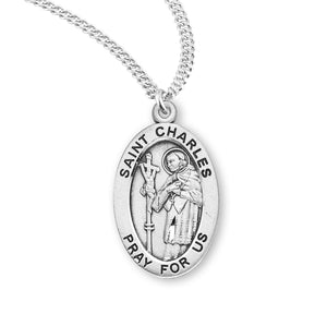 HMH Religious St Charles Oval Sterling Silver Patron Saint Medal Necklace