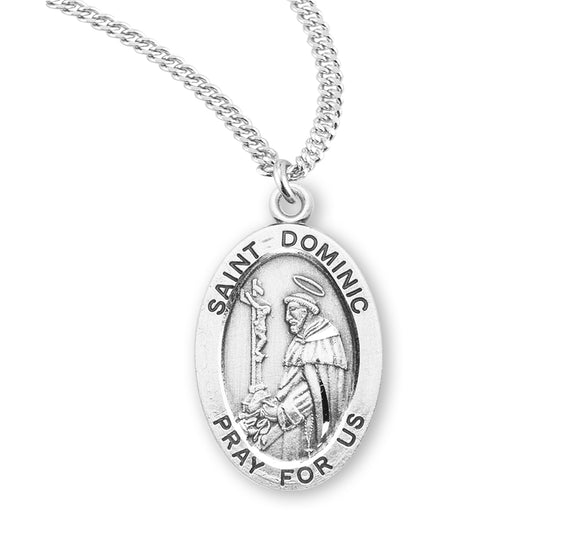 HMH Religious St Dominic Oval Sterling Silver Patron Saint Medal Necklace