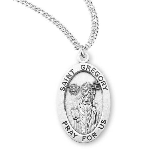 HMH Religious St Gregory Oval Sterling Silver Patron Saint Medal Necklace