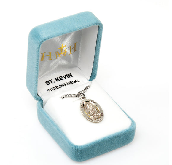 HMH Religious St Kevin Oval Sterling Silver Patron Saint Medal Necklace