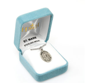 HMH Religious St Mark Oval Sterling Silver Patron Saint Medal Necklace