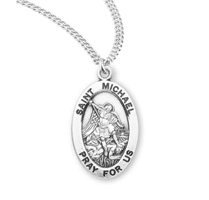 "HMH Religious Oval St Michael Archangel Patron Saint Sterling Silver Pendant Necklace w/20"" Chain"
