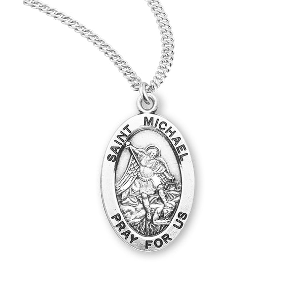 HMH Religious Oval St Michael Archangel Patron Saint Sterling Silver Pendant Necklace w/20