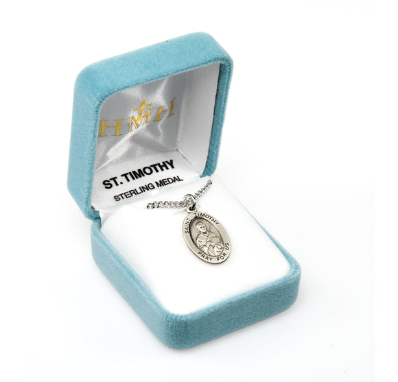 HMH Religious St Timothy Oval Sterling Silver Medal Necklace