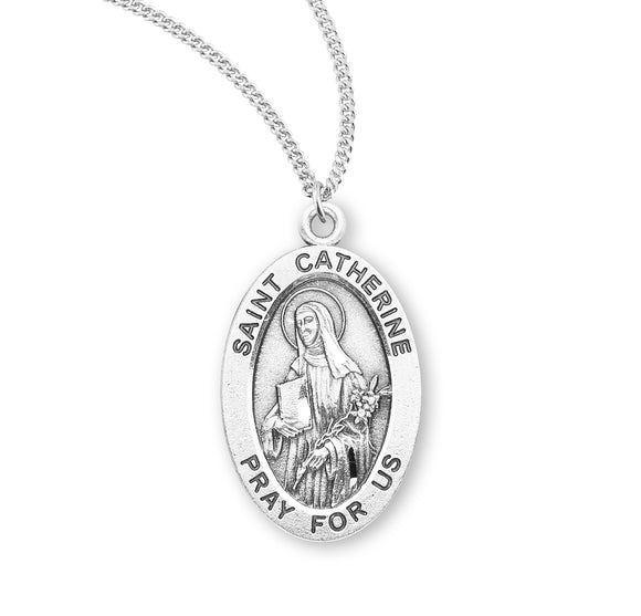 HMH Religious St Catherine of Siena Oval Sterling Silver Patron Saint Medal Necklace