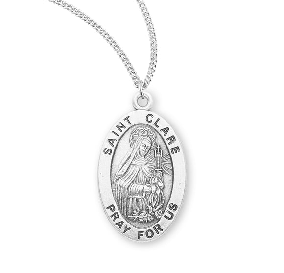 HMH Religious St Clare Oval Sterling Silver Patron Saint Medal Necklace