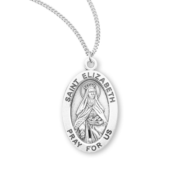 HMH Religious St Elizabeth of Hungary Oval Sterling Silver Patron Saint Medal Necklace