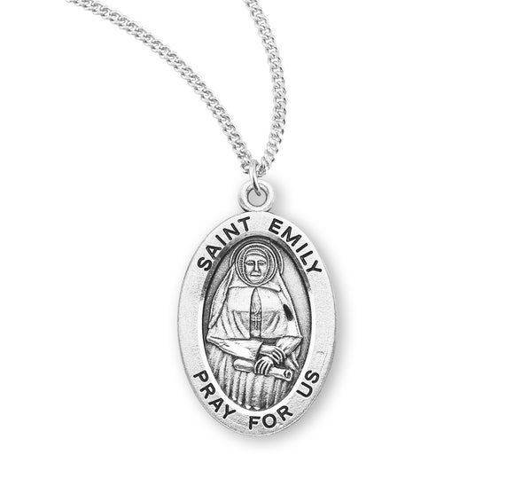 HMH Religious St Emily Oval Sterling Silver Patron Saint Medal Necklace