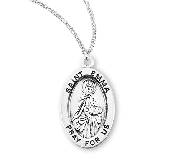 HMH Religious St Emma Oval Sterling Silver Patron Saint Medal Necklace