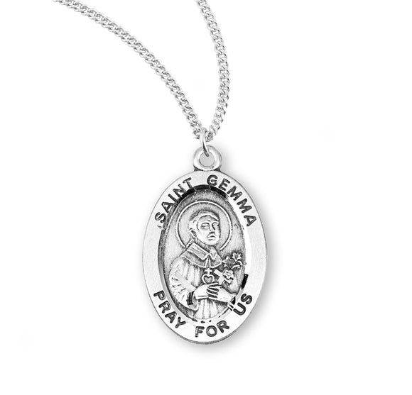 HMH Religious St Gemma Oval Sterling Silver Patron Saint Medal Necklace