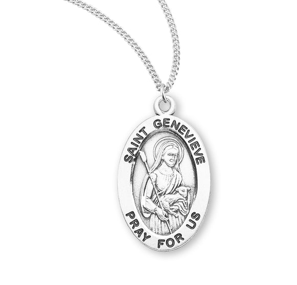 HMH Religious St Genevieve Oval Sterling Silver Patron Saint Medal Necklace