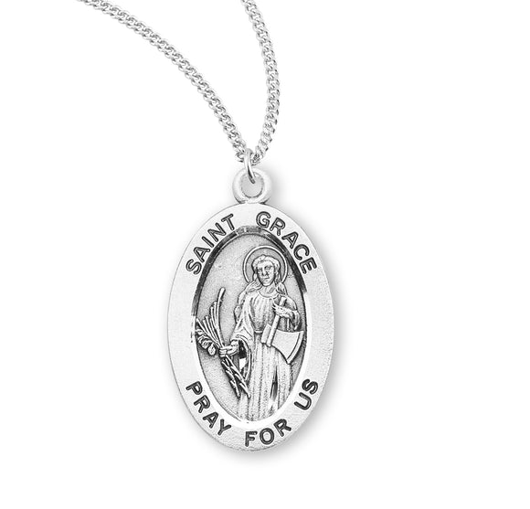 HMH Religious St Grace Oval Sterling Silver Patron Saint Medal Necklace
