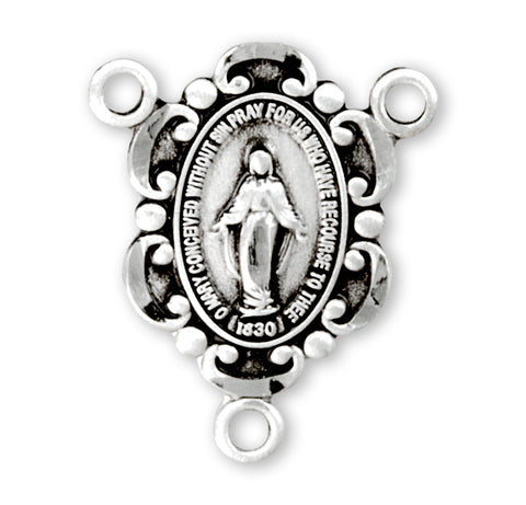 HMH Religious Beaded Miraculous Medal Sterling Silver Center Rosary Parts