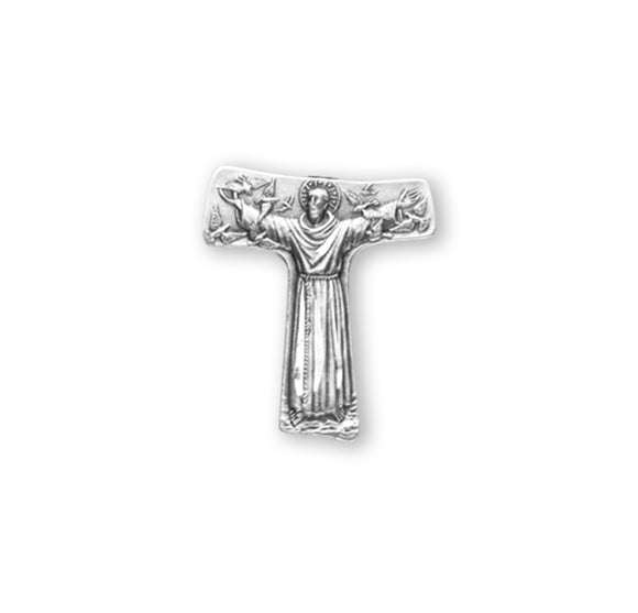 HMH Religious Saint Francis Tau Cross Sterling Silver Lapel Pin w/Deluxe Screw