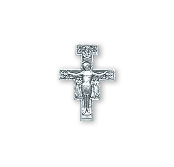 HMH Religious San Damiano Crucifix Sterling Silver Lapel Pin w/Deluxe Screw