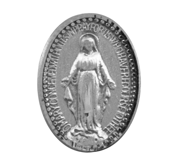 HMH Religious Miraculous Medal Sterling Silver Lapel Pin w/Deluxe Screw