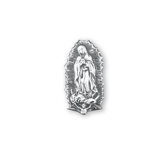 HMH Religious Our Lady of Guadalupe Sterling Silver Lapel Pin w/Deluxe Screw