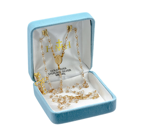 HMH Religious Crystal Rosary Necklace w/Cubic Zirconia Cross Gold over Sterling Silver Beaded Necklace