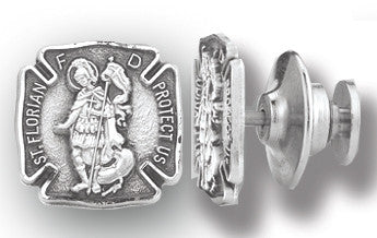 HMH Religious St Florian Patron Saint of Firefighters Sterling Silver Lapel Pin w/Deluxe Screw