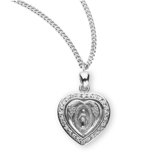 HMH Religious Heart Miraculous Medal Crystal Cubic Zirconia Sterling Silver Pendant Necklace