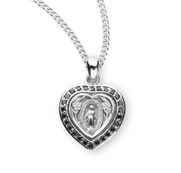 HMH Religious Heart Miraculous Medal Jet Black Cubic Zirconia Sterling Silver Pendant Necklace
