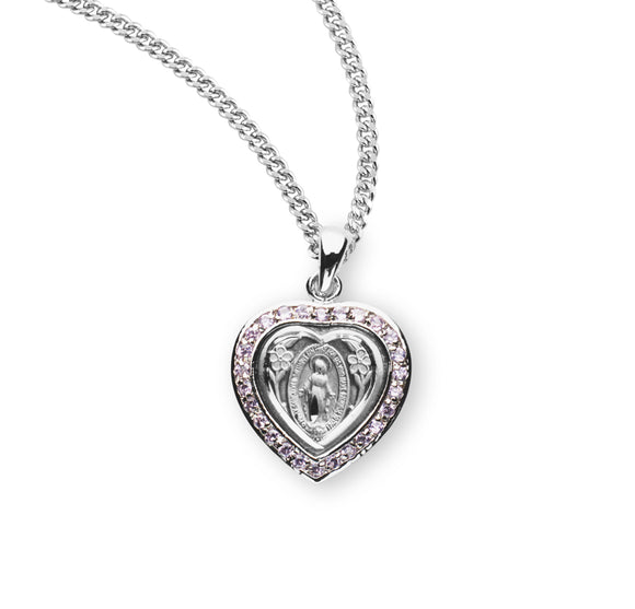 HMH Religious Heart Miraculous Medal Pink Cubic Zirconia Sterling Silver Pendant Necklace