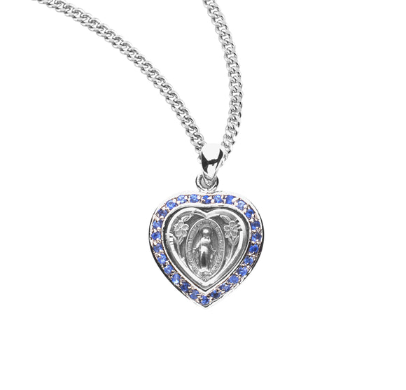 HMH Religious Heart Miraculous Medal Sapphire Cubic Zirconia Sterling Silver Pendant Necklace