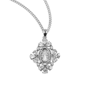 HMH Religious Oval Sterling Silver Crystal Cubic Zirconia Miraculous Medal Pendant Necklace