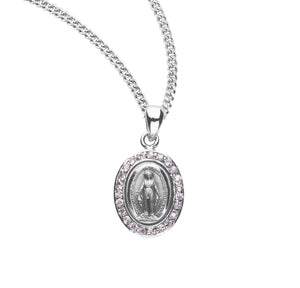 HMH Religious Sterling Silver Miraculous Medal Pink Cubic Zirconia Pendant Necklace