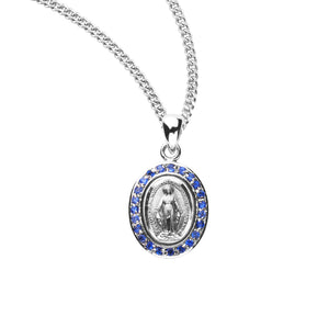 HMH Religious Sterling Silver Miraculous Medal Sapphire Cubic Zirconia Pendant Necklace