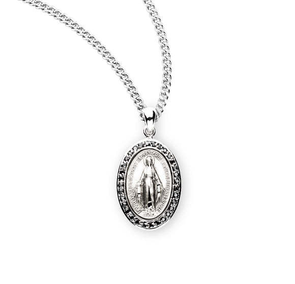 HMH Religious Miraculous Medal Sterling Silver Jet Black Cubic Zirconia Pendant Necklace