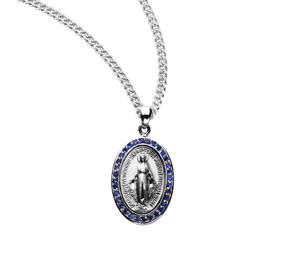 HMH Religious Miraculous Medal Sterling Silver Sapphire Cubic Zirconia Pendant Necklace