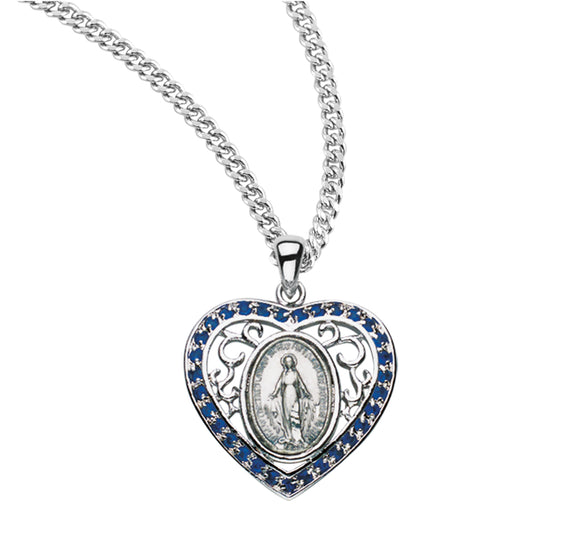 HMH Religious Heart Miraculous Medal Sterling Silver Sapphire Cubic Zirconia Pendant Necklace