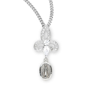 HMH Religious Sterling Silver Crystal Cubic Zirconia Miraculous Medal Pendant Necklace