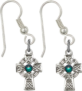 Bliss Mfg Sterling Silver Celtic Cross Fish Wire Earrings w/Swarovski 3mm Emerald Crystal