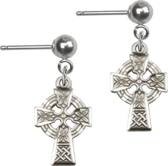 Bliss Manufacturing Sterling Silver Irish Celtic Cross Ball Post Earrings