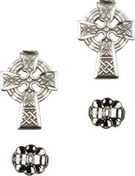 Bliss Manufacturing Sterling Silver Irish Celtic Cross Post Earrings