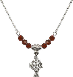 Silver Birthstone Communion Irish Celtic Cross Crystal Bead Necklace by Bliss Mfg