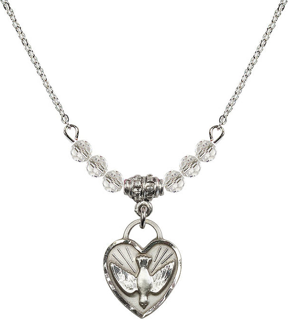 Bliss Sterling Silver Confirmation Holy Spirit Heart Shaped Birthstone Swarovski Crystal Necklaces