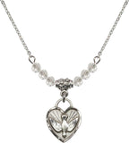 Bliss Manufacturing Confirmation Holy Spirit Heart 6mm Birthstone Swarovski Crystal, Sterling and Gold-filled Necklaces