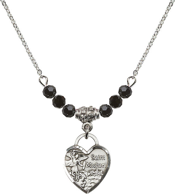 Bliss Manufacturing Saint Michael Heart 6mm Birthstone Swarovski Crystal, Sterling and Gold-filled Necklaces