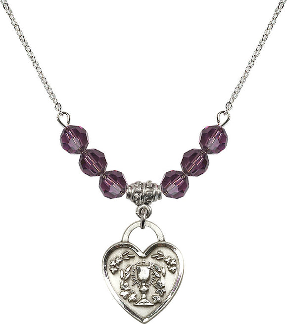 Bliss Sterling Silver Communion Chalice Heart Swarovski Crystal Birthstone Beaded Necklace