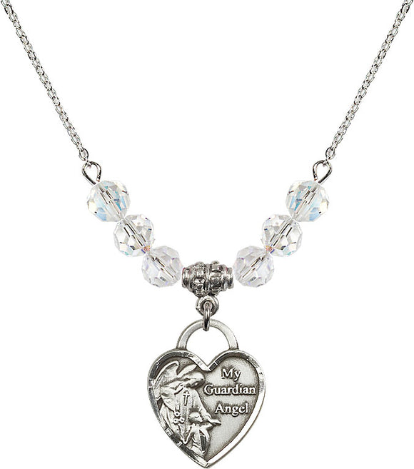 Bliss Sterling Silver Christian My Guardian Angel Swarovski Crystal Birthstone Beaded Necklace