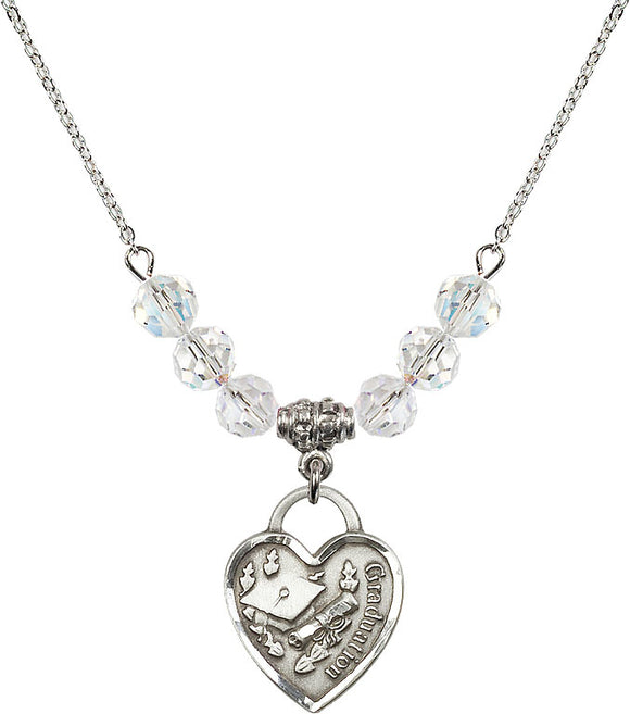 Bliss Sterling Silver Graduation Heart Swarovski Crystal Birthstone Beaded Necklace