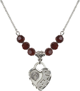Bliss Sterling Silver Footprints Heart Shaped 6mm Birthstone Swarovski Crystal Necklaces