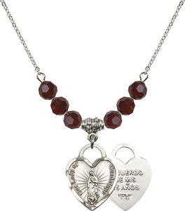 Bliss Our Lady of Guadalupe Recuerdo Heart 6mm Birthstone Swarovski Crystal, Sterling and Gold-filled Necklaces
