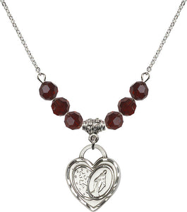 Bliss Sterling Silver Miraculous Heart Swarovski Crystal Birthstone Beaded Necklace
