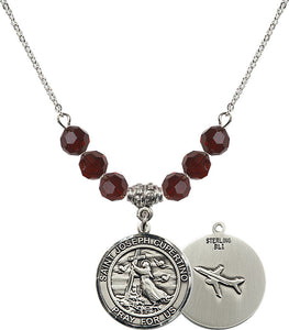 Bliss Round Sterling Silver St Joseph of Cupertino Airplane Swarovski Crystal Birthstone Beaded Necklace