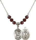 Bliss 1st Responder St Michael Swarovski Crystal Birthstone Beaded Necklace