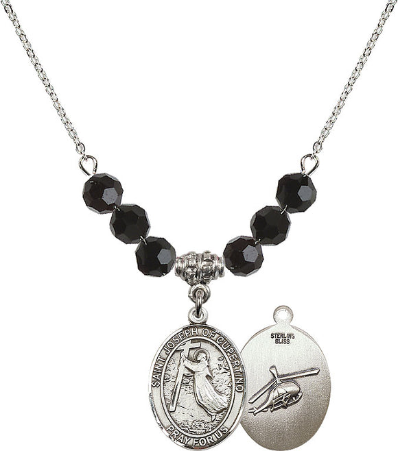 Bliss Sterling Silver St Joseph of Cupertino Helecopter Swarovski Crystal Birthstone Beaded Necklace